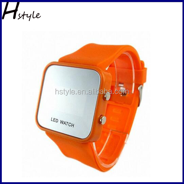 2016 Popular Unisex Mirror Dial LED Digital Sport Watch Orange WP022