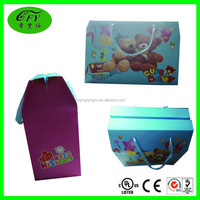 Custom printing colour paper gift packing box with cartoon pattern