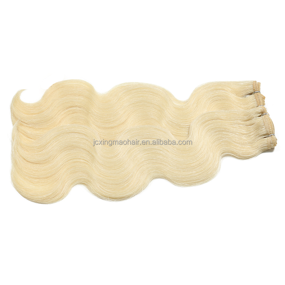 Best quality Body Wave Russian blonde human hair extention hair weaving
