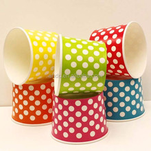 cheap waterproof colorful polka dot printed ice cream paper cup
