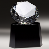 diamond crystal trophy with black base