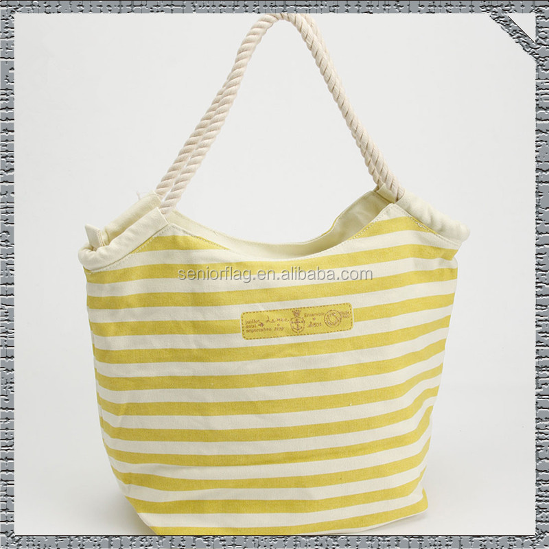 New design canvas bag cotton canvas rope handle beach bag with low price