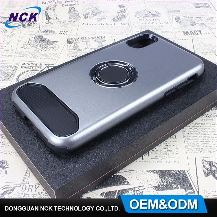 Newest smart phone cover custom ring holder stand pc tpu combo phone case for iphone se 7 8