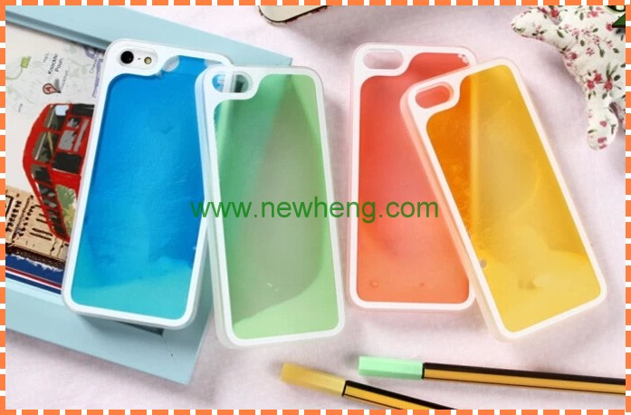High quality wholesale liquid sand luminous mobile phone shell for iphone5/5S