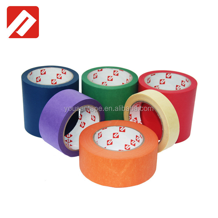 wholesale crepe paper adhesive easy removal yellow automotive masking tape