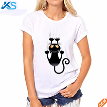 Good quality Women Lovely Black Cat 3D printed Comfortable white cotton T shirt