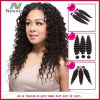 Natural color 100% pure remy deep wave virgin remy indian hair wholesale
