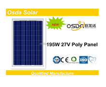195w 27V PV system with Poly solar modules for high quality
