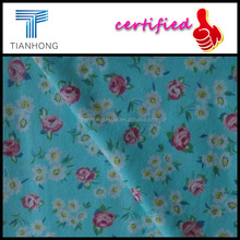 light blue flower design 122gsm cotton twill weave brushed flannel printed fabric
