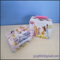 2015 High quality cute candy tin can with plastic handle and locks