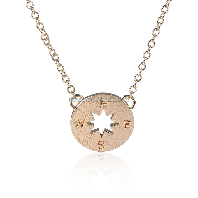18k Gold Good Quality Beautiful Simple Charms Compass Necklaces for women Men NSYH-0016