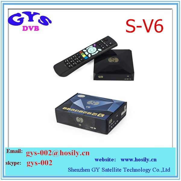 S V6 Digital Satellite Receiver S V6 S-V6 with AV output VFD Screen Support 2xUSB WEB TV USB Wifi 3G Biss Key Youporn CCCAM