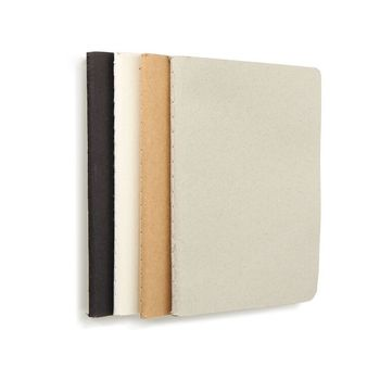 Cheap Simple Blank Pages School Black Brown Kraft Sketch Craft Plain Stitching Notebook