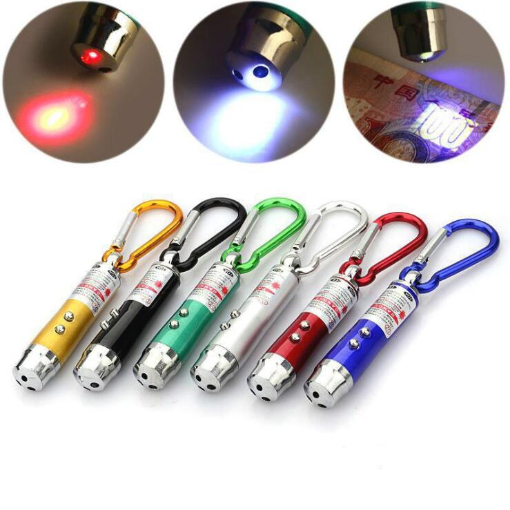 Wholesale Aluminum Metal Pet Stains Detection Mini Flashing Keychain 3 LED Black Light Flash UV Led Keychain