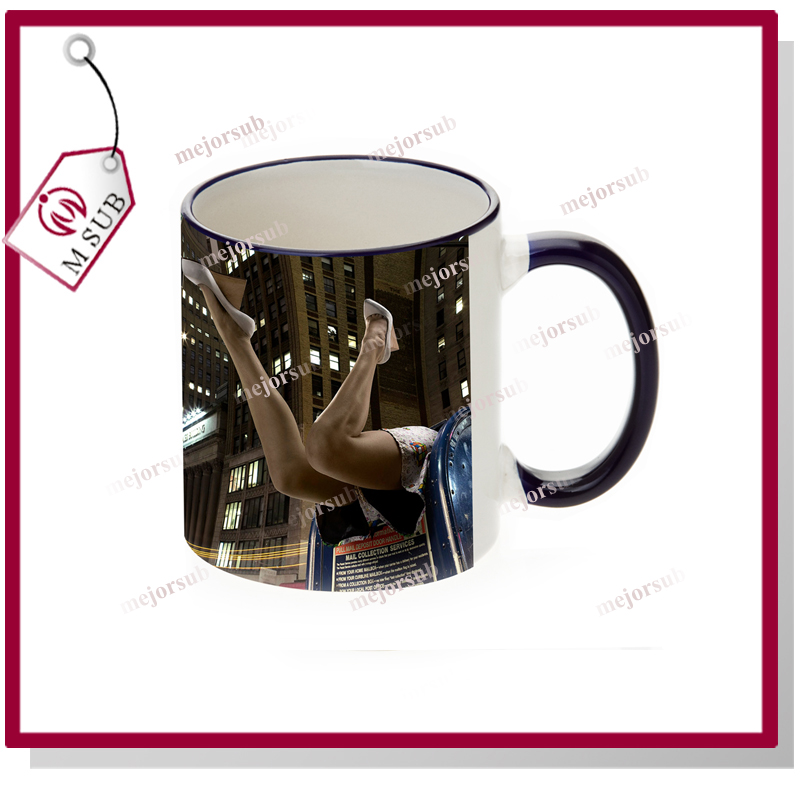 wholesale rim and handle color heat press wholesale sublimation for 11oz mug in Shanghai