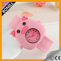 Best quality waterproof kids quartz silicone slap watch