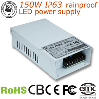 12V 12.5A Waterproof Led power supply IP63 150W high efficiency led driver