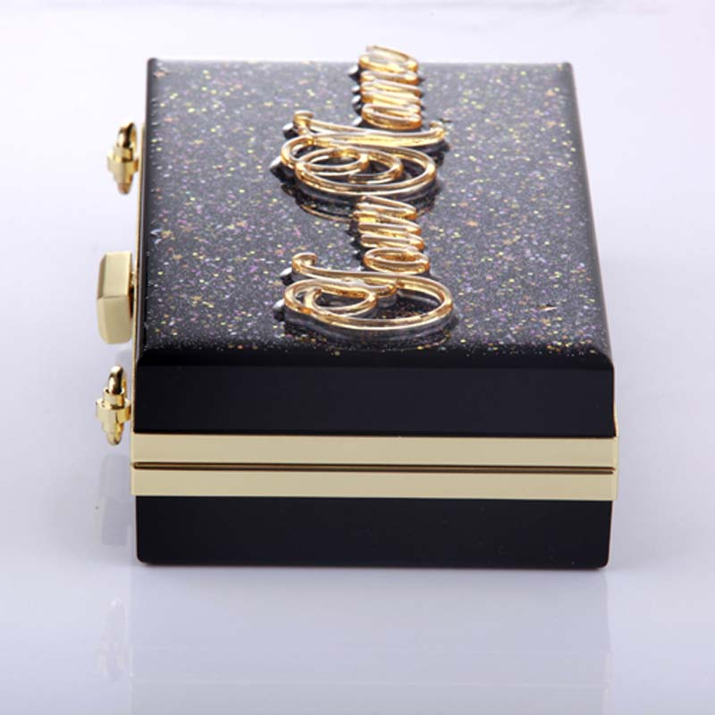 High quality Hand craft Personalized black clutch acrylic bags