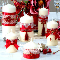 Pure White Church Pillar Candle wedding candle