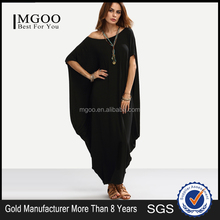 Black One Shoulder Dolman Sleeve Maxi Dress 100% Cotton Casual Batwing Sleeve Shift T Shirt Dress
