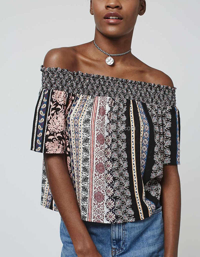 Off shoulder fashion style printed ladies tops for women 2016