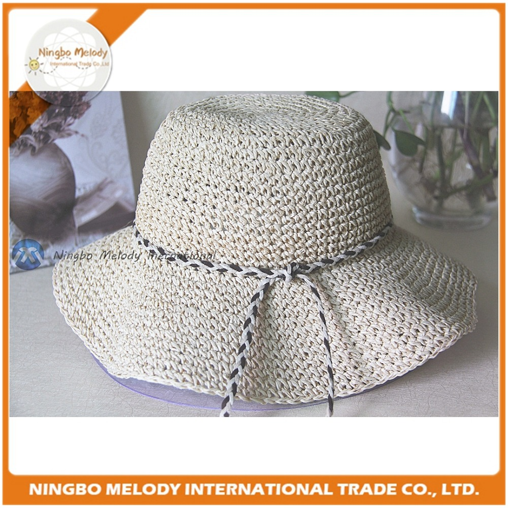 Paper yarn crochet ladies foldable floppy straw hats decorated with bows