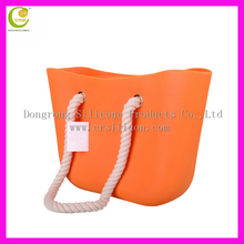 hot sales fashion pure color beach type ladies silicone tote bag high quality hand bag wholesale