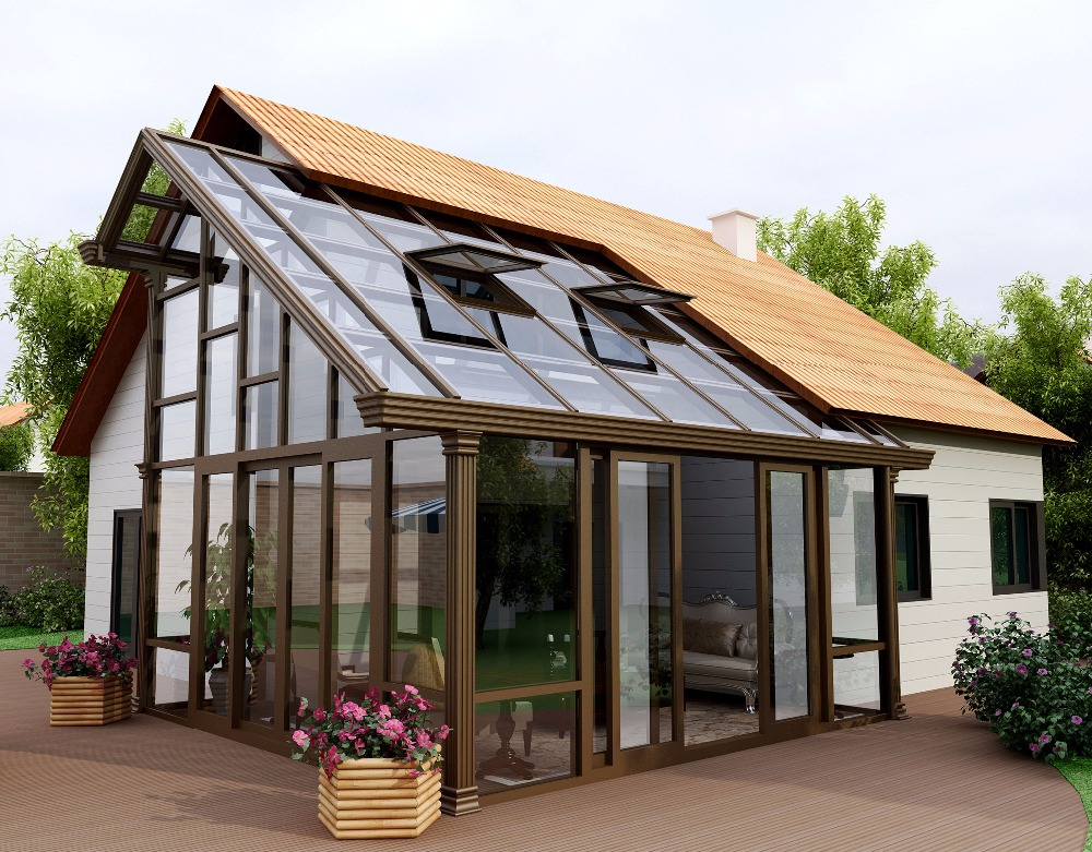 China durable hot sale aluminum profile frame outdoor sunroom with tempered glass