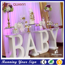 New products high quantity white pvc letter BABY table