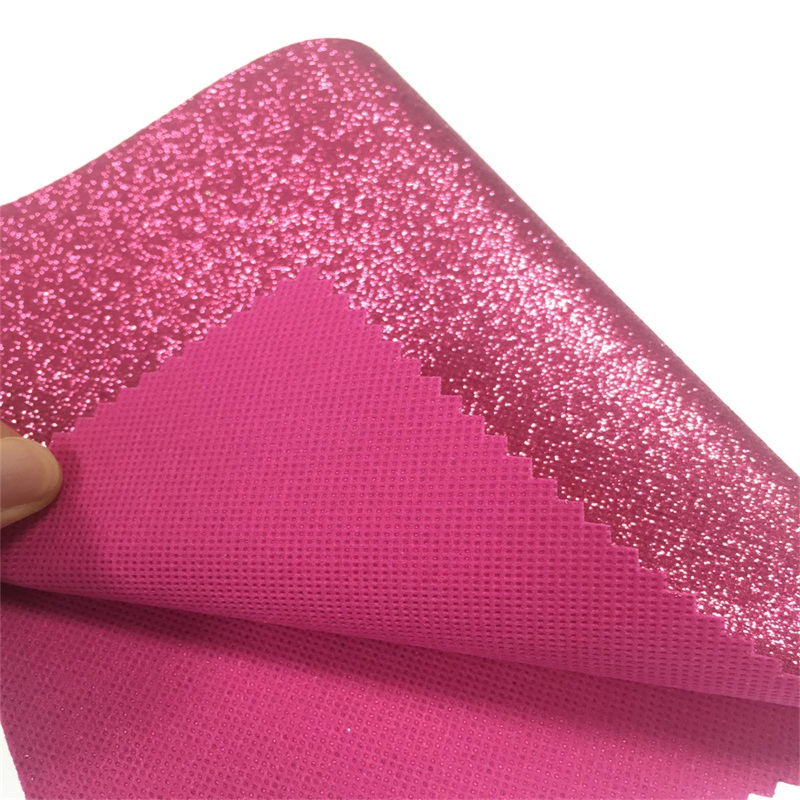 Shiny nonwoven glitter fabric <strong>leather</strong> for hair Accessories