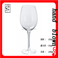 hotsale handcrafted 535ml lead-free crystal red wine glass/glass goblet with OEM decal logo HRWG-041