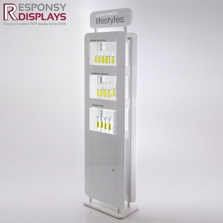 Modern new design care products acrylic and wood floor display stand for cosmetic