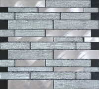 foshan strip cheap price laminate crystal glass mixed brushed stainless steel mosaic tile