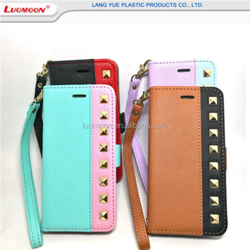 2018 Luxury rivet leather wallet cell phone case for iPhone 6 6s 7 7plus 8 8 plus credit card holder pu leather phone case