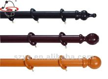 Moving wooden curtain pole for rotating window decoration