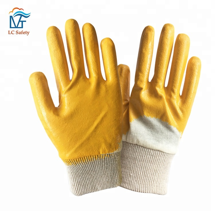 Cotton Knitted Oil Proof Yellow Nitrile Half Coated <strong>Glove</strong>