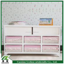 girls style pink cute living room cabinet with 6 drawers