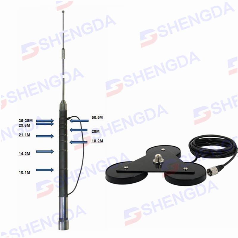 7-50MHz HF mobile <strong>antenna</strong> with magnetic base mount and UHF-male connector for vehicle ham and amateur radio car