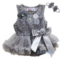 Baby Girls Crystal Rosettes Silver Grey Bodysuit Pettiskirt tutu and Headband Party Dress NB-18M
