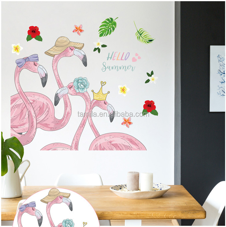 Flamingo Art Wall Stickers Living Room Sofa Background Bedroom Wall Decoration removable wall paper