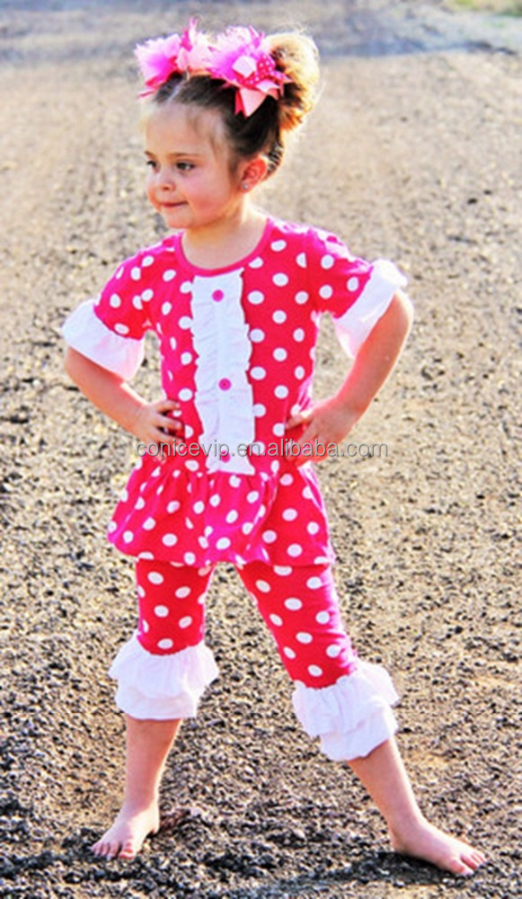 2017 baby ruffle half sleeve button clothing set polka dot cropped pant