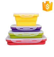 New Popular food grade Storage Boxes & Bins Silicone Collapsible Lunch Box folding lunch box