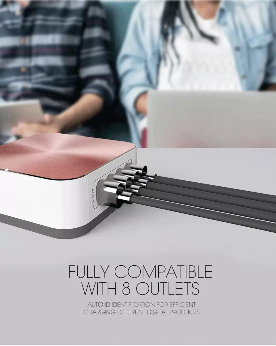 New 8 Ports QC 3.0 Type-C Charger Portable Compatible Quick Charging Adapter