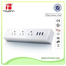 3-Outlet Adapter Travel Charger Desktop Power Socket Smart IC with 3.4A Max 3 USB Charging Station