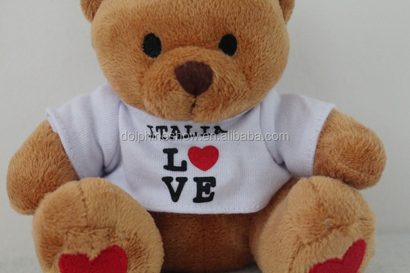 Cute cheap custom mini teddy bear t shirt keychain OEM design logo printed brown soft plush stuffed bear