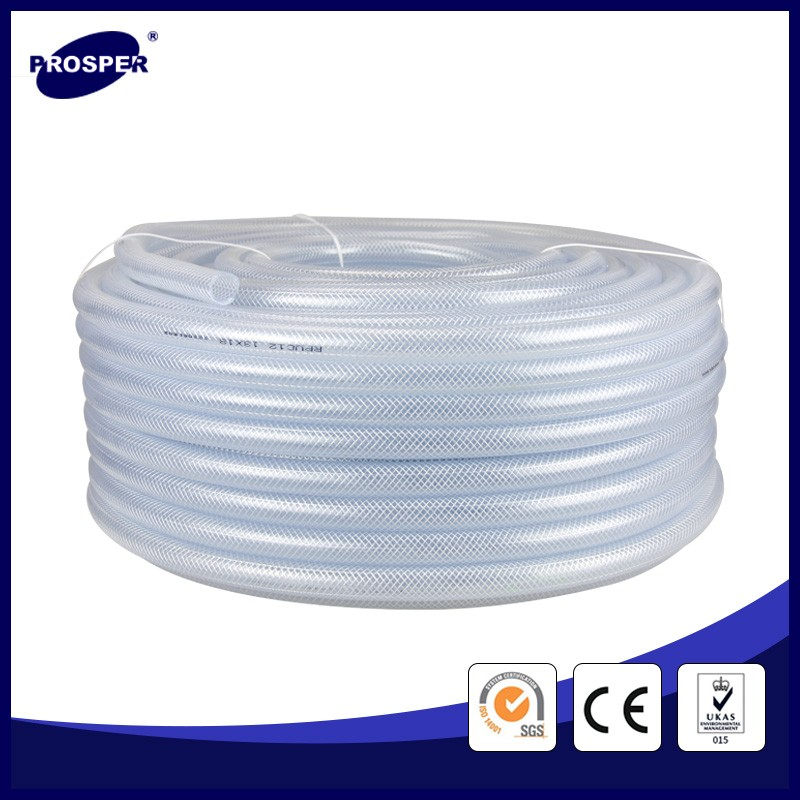15m-100m pvc clear reinforced braided hose applied to home or gasoil etc