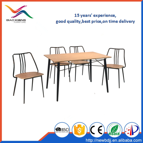 Modern Restaurant Wood Seat Metal Frame Covers Coating Dining Chair