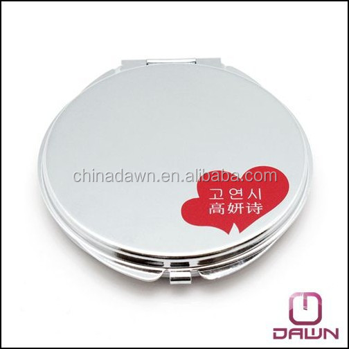 round plain makeup gift mirror with logo silk printing CD-MG084