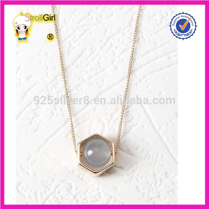 Round gemstone in sexangle pendant neckalce with scrollable beads 14k gold necklace