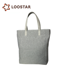2017 Factory Direct Cheap Sales Grey Small Cotton Canvas Tote Bags Hand Made Felt Plain Market Bag at Stock from China Wholesale
